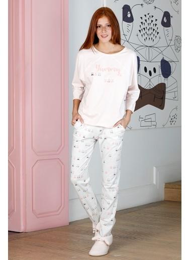 Hays Kadın Pembe Puan Baskılı Penye Pijama Takımı Pembe